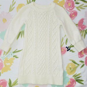 Baby Gap Ivory Cable Knit Sweater Dress 2 years